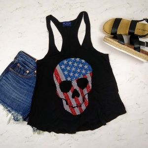 The Classic American Flag Skull Embellished Tank